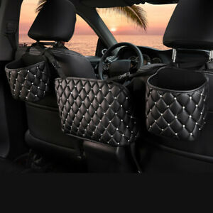 Bling Crystal Car Seat Back Storage Bag Leather Organizer Pocket Diamante Decor