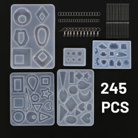 245pc/Set Epoxy Resin Casting Silicone Mold Kit Jewelry Making Pendant Craft DIY