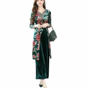 Lady Ethnic Velvet Dress Two Piece Set Pants Trousers Suit Retro Floral Slit Top