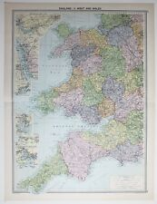1920 LARGE MAP ENGLAND WEST & WALES CORNWALL LIVERPOOL DOCKS MANCHESTER