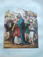 ANTIQUE PRINT C1870'S DAVID PLAYING BEFORE THE ARK HOLY BIBLE RELIGION CHRISTIAN