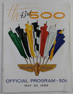 43rd Indianapolis 500 Official Program 1959 100 Pages, Foyt Bettenhausen Boyd