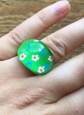 Kitsch Retro Plastic Domed Ring/Green With Flowers/Retro/Boho/Statement