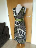 Ladies Dress Size 14 Grey Black Smart Casual Day Party Summer