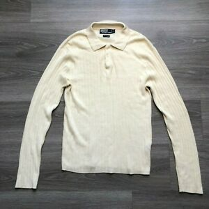 Polo Ralph Lauren Mens Medium Ivory Cotton Silk Cashmere Blend Sweater Polo