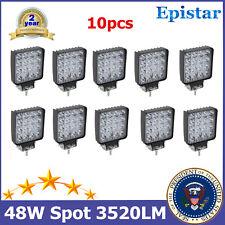 10X 48W Square LED Work Lights SPOT Beam Fits Roof Truck ATV SUV 4x4 240W/288W