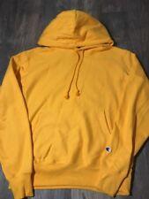 New Champion Reverse Weave Yellow Orange GOLD Slv Logo Hoodie *Large* L Fleece