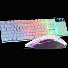 Gaming Keyboard and Mouse Set Rainbow LED USB Wired Illuminated for PC Laptop UK