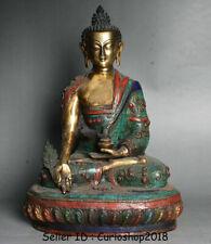 "16.4"" Old Tibet Buddhism Bronze Gilt turquoise Gem Menla Medicine Buddha Statue"