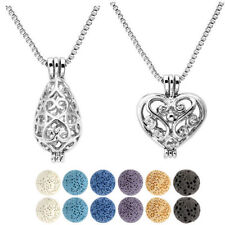 US Hollow Chakra Chakra Lava Bead Sets Locket Pendant Necklace Heart Set Oval GB