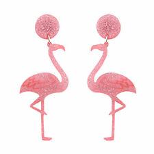 FLAMINGO Pink Glitter Earrings~Kitsch~Dangle~Drop~Sparkle~Retro 1950s Rockabilly
