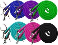 Round COTTON Roping Barrel Contest Reins w Clips Black Blue Lime Pink Purple