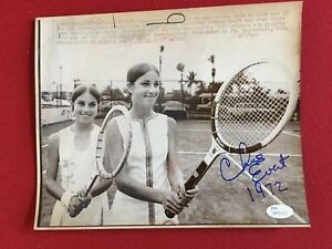 "1972, Chris Evert, ""Autographed"" (JSA), 8""x 10"" Press Photo (Full Signature)"