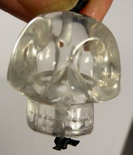 Tibétain haute altitude Cristal de Quartz Unique Crâne Perle Collier Ganesh Himal