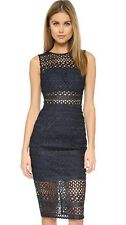 Nicholas Braided Lace Fitted Dress Size 6 Navy