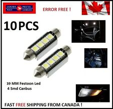 10 X CANBUS White 39 MM 4 SMD LED 5050 Car Festoon Interior Light Bulbs Dome