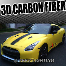 "50"" 3D Texture Black Carbon Fiber Sticker Vinyl Decal Film Wrapping Sheet C91"