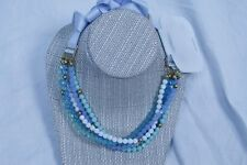 Authentic Swarovski zirconia  satin tape brass metal necklace