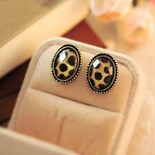 Jewelry Vintage Style Elliptic Big Rhinestone Ear Stud Leopard Print Earrings