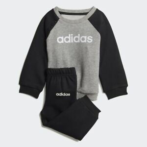 adidas boy black & grey infant/baby linear tracksuit. Various sizes!