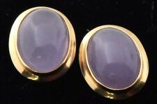 Certified Estate 14K Gold Icy Lavendar Jade Earrings Lot 1156