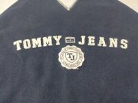 Vintage Tommy Hilfiger Mens Sweater Size XL Blue Spell Out Crew Neck Pullover