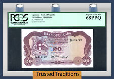 TT PK 3a 1966 UGANDA 20 SHILLINGS PCGS 68 PPQ 1 OF 2 SEQUENTIAL SERIAL NUMBER