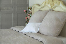 2 X Extra-large square taupe stitch embroidered cushion cover with ties