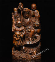 "7"" Collect China Boxwood Wood Carved Buddhism Ksitigarbha Bodhisattva Statue"