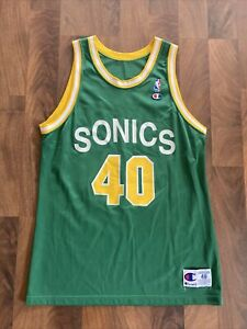Vtg 90s Shawn Kemp Seattle Supersonics Champion Jersey Sz 48 - Rare