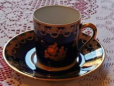 More details for  vintage,limoges france  small coffee cup and saucer cobalt blue & gold pattern