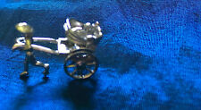 SSiver Pulled Rickshaw w/wheels that spin  3D 1950's MINT RARE/charm or necklace