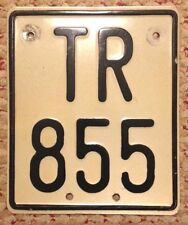 RARE FINLAND MOTORCYCLE CYCLE LICENSE PLATE BIKE # TR 855 FINNISH FIN