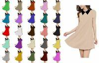Kids Girls Black-Collar Soft Cap Sleeve Comfortable Casual Flared Swing Dress