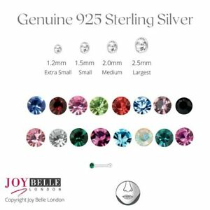 925 Sterling Silver Ball and Crystal Nose Studs (1.5mm) - Value Packs of 6 or 12