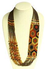 NE641-103 Dots Glass Hand Beaded Earth Tones Necklace Czech Crystal Artisan Made