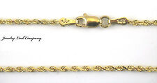 "14K Solid Yellow Gold 2.5mm Diamond Cut Rope Chain 20"" 9.2grams"