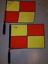 Lot 2 Used Champion Sports Official Checkered Linesman Soccer Flag With Border