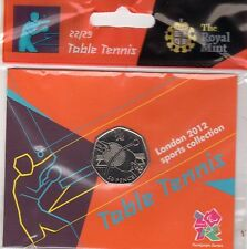 2012 50p OLYMPIC 22/29 TABLE TENNIS COIN HANGING BAG BRILLIANTLY UNCIRCULATED @