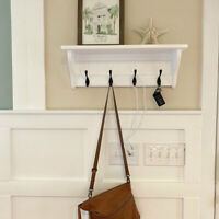 Key Rack with Wood Wall Shelf Wall Hanging Entryway Key Holder with Coat Hooks