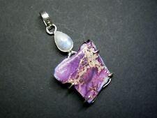 Natural Sea Sediment Jasper and Moonstone Gemstone Pendant - 925 Stamped.