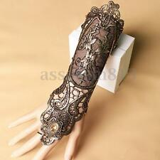 Sexy Women Ladies Steampunk Goth Party Costume Gold Lace Fingerless Glove Long