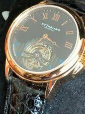 Vero Tourbillon stührling Saphire Crystal 42 MM, rettile-in pelle nuovo con etichetta