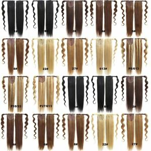 Obmer Human Hair Ponytail Remy Clip In Hair Extensions Wrap Silky Straight Hair