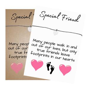 Special Friend Verse Card Wish Bracelet with Heart Charm & envelope - Friendship