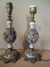 Paire de lampes de chevet 1950.Céramique et bronze.Cerart,Monaco,Limoges.Ht 25cm