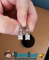 2019 925 Sterling Silver Hoop Earrings for Women Black & White Stone Zircon