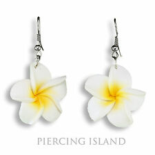 Edle Designer Ohrringe Frangipani Blüten weiss ER258