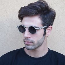 unisex silver round Steampunk sunglasses polarized lens Goth Retro Rock Hi Tek