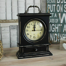 Black wooden vintage style mantel clock shabby vintage chic country gift home